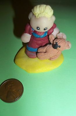 LIL' BLOND BOY WITH KOALA TOY ,  hand crafted, POLYMER  SCULPTURE