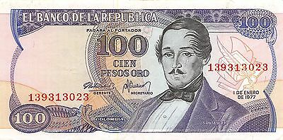 Colombia  100 Pesos  Oro  1.1.1977  Circulated Banknote