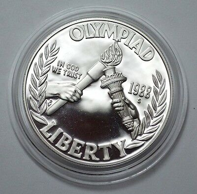 1988 S OLYMPIAD LIBERTY  Proof Commem 90% Silver Dollar Coin