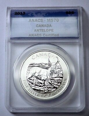 2013 S $5 Anacs Ms-70 Canada Antelope,1 (One) Oz .9999 Fine Silver Coin