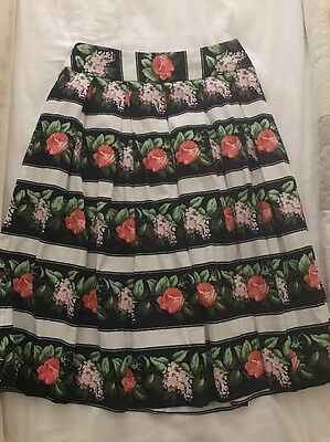 Review Navy Floral Stripe Skirt Size 10 New