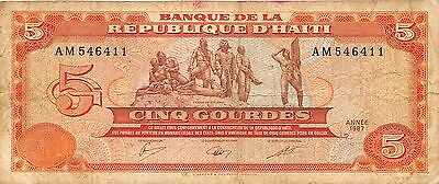 Haiti  5  Gourde  1987  Series AM  Circulated Banknote WNS16J
