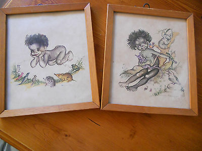 Two old Brownie Downing timber framed prints Bush Babies & The Story Teller