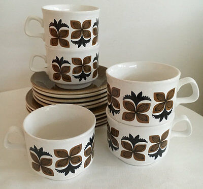 Staffordshire Potteries Ltd England Tea Set Coffee Set  Five (5) Trios Stoneware