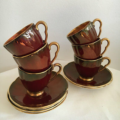 Carlton Ware Rouge Royale Enamelled Demitasse Duos Set of Six(6)