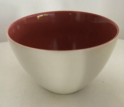 Poole England Twintone Bowl Red Indian and Magnolia 1950s