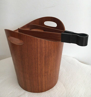 Retro Timber Ice Bucket Midcentury with matching timber tongs