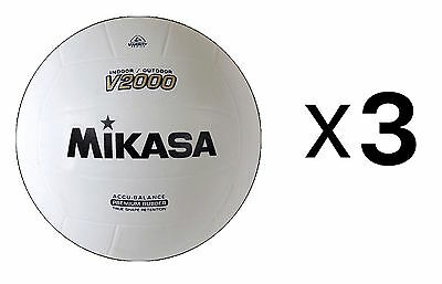 Mikasa Indoor-Outdoor Volleyball, Accu-Balance Shape Retention Ball-Wh (3-Pack)