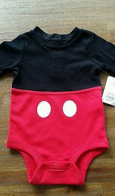 DISNEY BABY Mickey Mouse Onesie Size 12-18 Months, Black, Red White. NWT