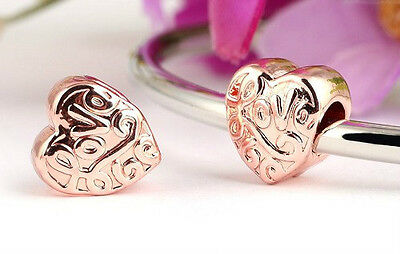 Rose Gold Plated Love Heart Charm Bead For Bracelet Or Necklace