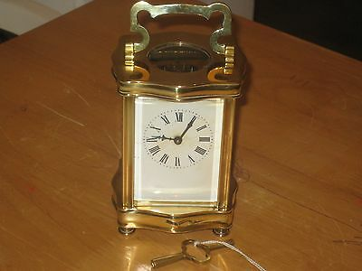 An Old & Vintage of early 1900's French Solid Brass Carriage Clock with Key