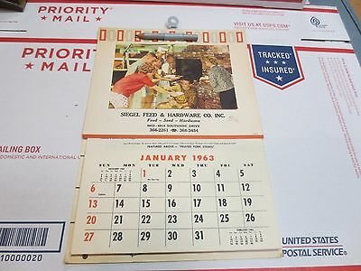 vintage 1963 Calender SIEGEL FEED & HARDWARE with RECEIPES