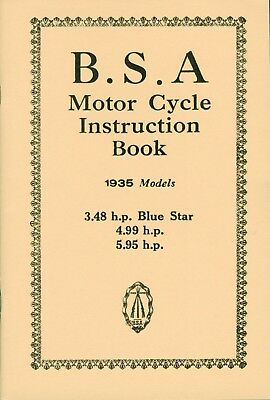 BSA Instruction Book 1934 Blue Star Manual OHV 2.49 hp 3.48 hp 4.99 hp 5.95 hp