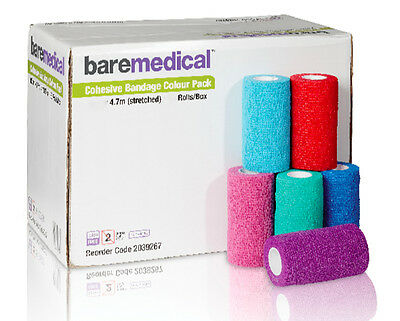 Cohesive Bandage Self Adherent 5cm X 4.7m (Stretched) Multi Colours