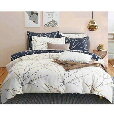 Reversible Leaves Quilt Duvet Doona Cover Set Queen/Double/King Size Bedding Set
