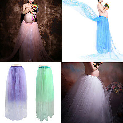 Maternity Pregnant Women Long Tutu Maxi Dress Ball Gown Photography Props Skirt