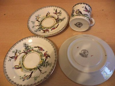 3 OLD ANTIQUE ROYAL STAFFORD BONE CHINA small CUP & SAUCERS HAND PAINTED BIRDS