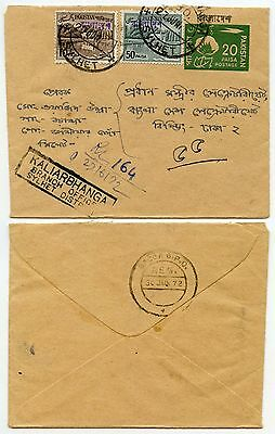 Pakistan Stationery Uprated Registered Bangladesh Surcharges 1972 Kaliarbangha