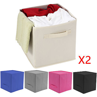2 x Foldable Storage Collapsible Folding Box Room Clothes Organizer Fabric Cube