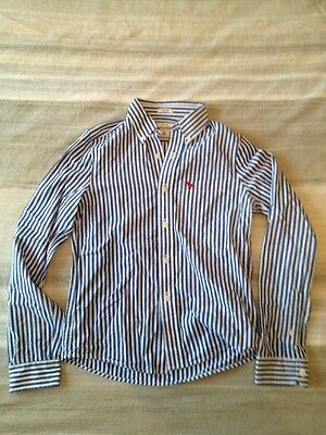 Abercrombie & Fitch Blue/white Striped Long Sleeve Shirt, Kids XL