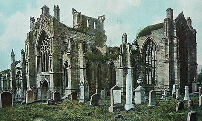 Melrose Abbey Post Card Posted Melrose 1908