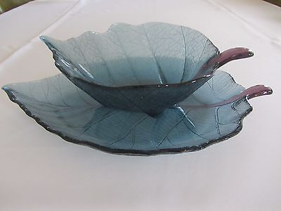 Vintage Depression Glass Set Of Two Leaf Dishes, Plate And Bowl