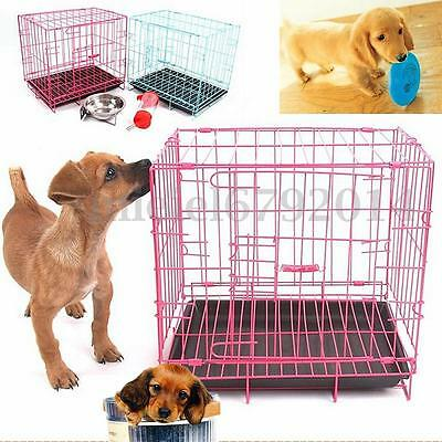 3 Sizes Pet Dog Cat Cage Collapsible Kennel Crate Folding Door Playpen Fence