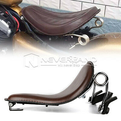 "13.4"" Brown Leather Solo Slim Seat Brackets Springs For Harley 883 1200 XL Large"