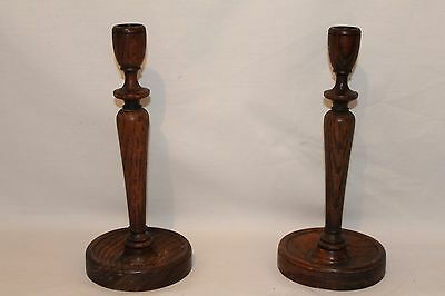A Pair Of Victorian Antique Wooden Candle Sticks In Excellent Condition