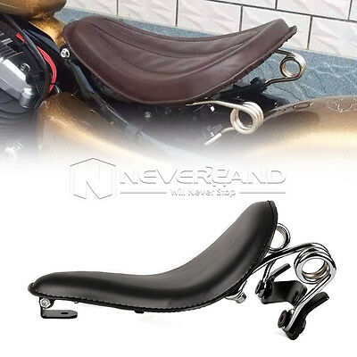 """13.4"""" Leather Solo Seat Spring Bracket For Harley Sporster XL883 1200 Dyna Black"""
