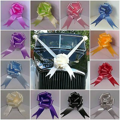 "Wedding Car Kit 3 Large 50mm Pull Bows & 7 Metres 2"" Poly Ribbon 21 Colours F&F"