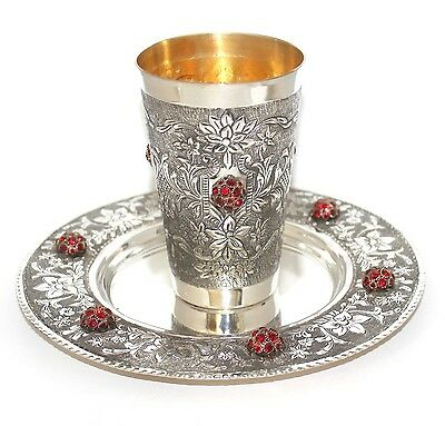 Hand Made Engraved  Russian 925 Silver Judaica  Kiddush Wine Goblet Cup