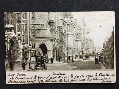 RP Vintage Postcard - London #L6 - Law Courts - 1907 - Horse Cabs