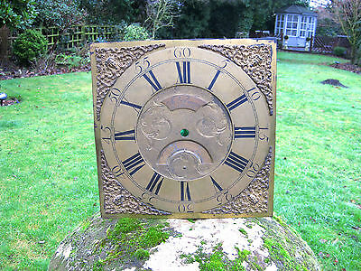 Antique Longcase Grandfather Clock Brass Face Dial By J Bown Matlock