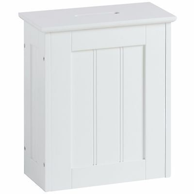 VonHaus Colonial Bathroom Slimline Slim Small Storage Space-saving Hamper White