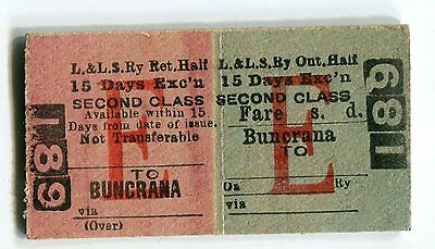 Londonderry & Lough Swilly Railway: 2nd class excursion ticket: Buncrana