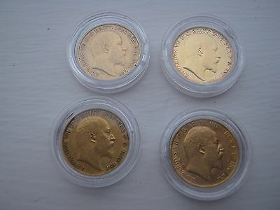 4 Gold Half Sovereigns 1908-1906-1902-1905