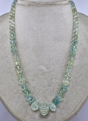 1Line 255Cts Natural Multi Aquamarine Carved Melon Beads Necklace Silver Hook