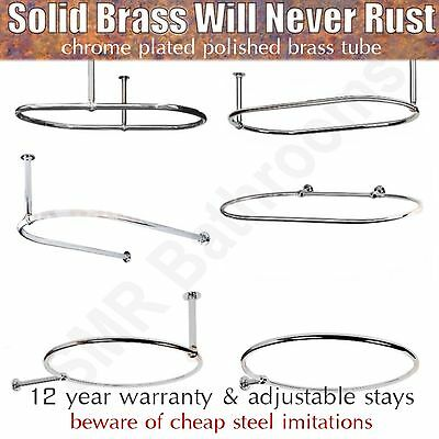 Luxury Oval & Round Chrome Plated Shower Curtain Rail with Adjustable Stays