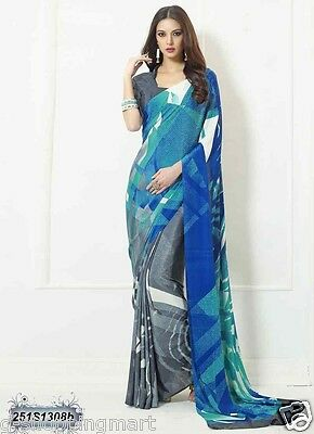 Poly Crepe Silk Printed Bollywood Saree Indian Pakistani Designer Sari colors