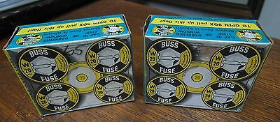 2 New Boxes (10 Fuses) Bussman BUSS FUSES W-20 AMP (Vintage 1961 New-Old-Stock)