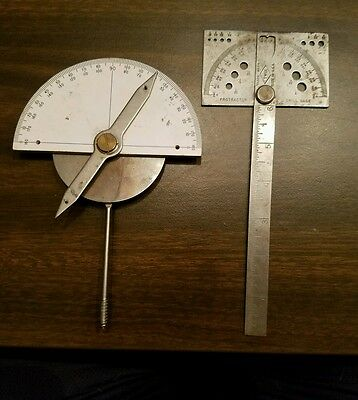 Vtg TWIX Satin Protractor 180 Degree Machinist Tool and Drill Gage