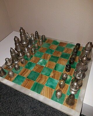 Sterling Silver Salt and Pepper Chess set 754 grams weighted & unweighted