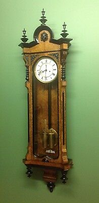 Vienna wall clock with Burr walnut case, double weight