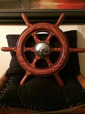 "Vintage 20"" Wooden Boat/Ship Steering Wheel w/Brass - Nautical Wall Decor"