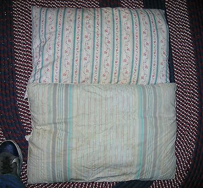 2 Vintage Feather Pillows Feather Ticking Pillows Vintage Blue Stripe Bed Pillow