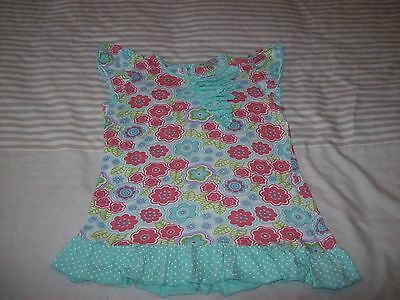 Girls T-Shirt Style Top - Floral - Aqua (Marks & Spencer 5-6 Years)