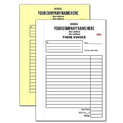 Personalised A5 NCR Books (4 Books of 100 Sets)   Invoice Books   Delivery Books