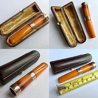 Antique Victorian Amber & Ornate 9ct Gold Cigarette Holder In Lined Leather Case