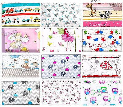Flat patterned sheet 100x75 cm  for baby Crib Pram Moses Basket 100% Cotton
